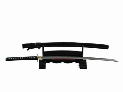 DELUXE SINGLE TIER BLACK PIANO LACQUERED WOOD JAPANESE SAMURAI SWORD STAND - buyblade