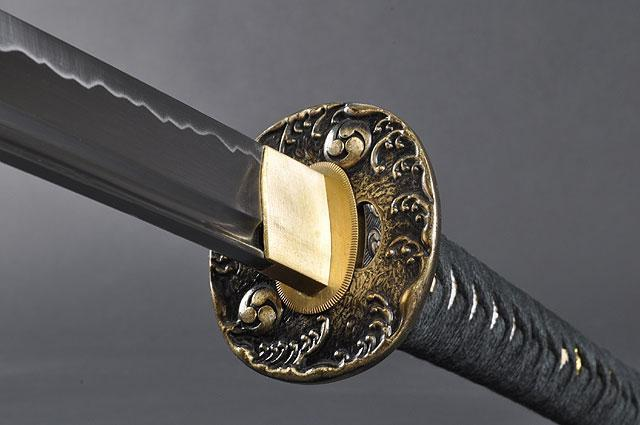 FULLY HAND FORGED BLACK FULL TANG WAVES JAPANESE SAMURAI KATANA SWORD - buyblade