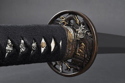 FULLY HAND FORGED CLAY TEMPER DRAGON SAMURAI KATANA SWORD - buyblade
