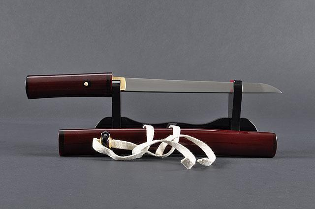 FULLY HAND FORGED CLAY TEMPERED RED JAPANESE SAMURAI TANTO SWORD - buyblade