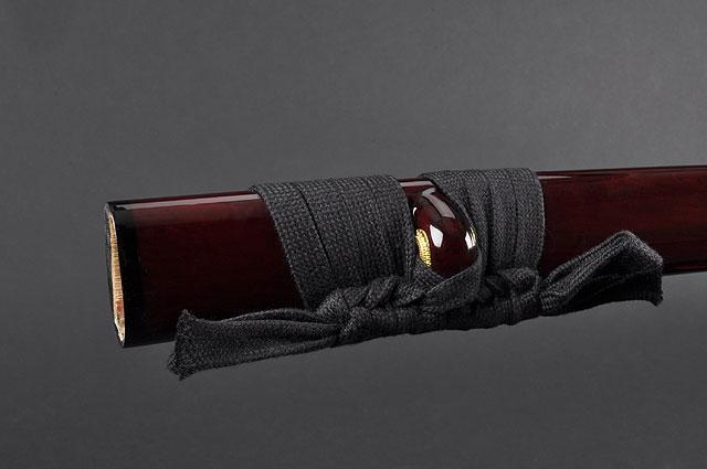FULLY HAND FORGED RED MOTHER OF PEARL PLUM BLOSSOM SAMURAI KATANA SWORD - buyblade