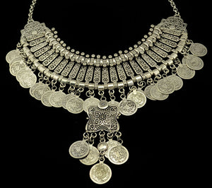 Handmade Bohemian Silver Fringe Statement Necklace-Necklaces-Burner Shop
