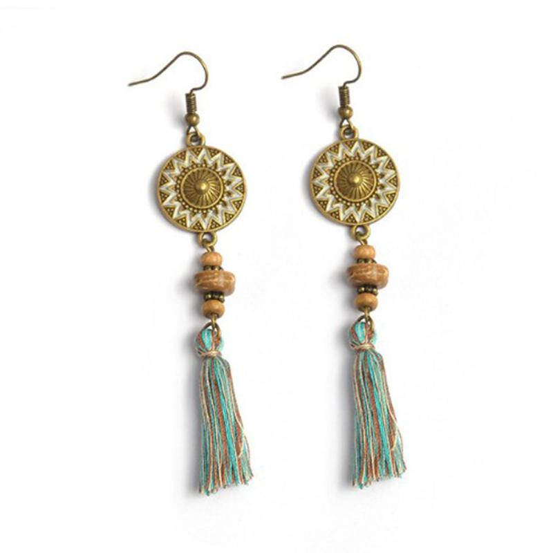 Rustic Bohemian Teardrop Fringe Tassel Earrings-Earrings-Burner Shop