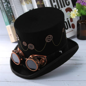 Unisex Felt Steampunk Top Hat With Gears and Chains-Hats-Black-Large (59cm)-Burner Shop
