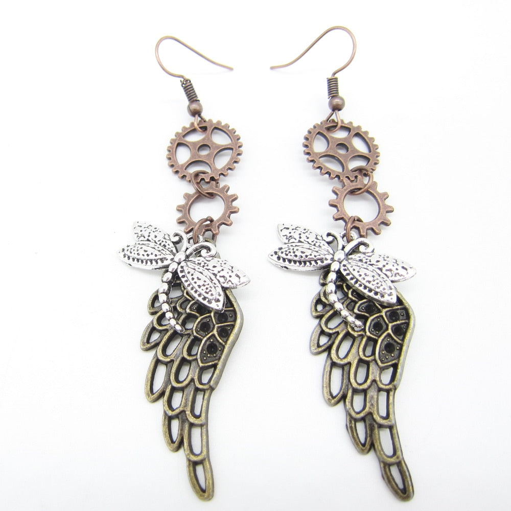 Dragonfly and Wing Vintage Steampunk Dangle Earrings-Earrings-Burner Shop