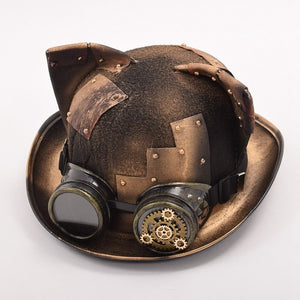 Handmade Retro Steampunk Women Gothic Hat with Cat Ears-Hats-With Goggles-China-Burner Shop