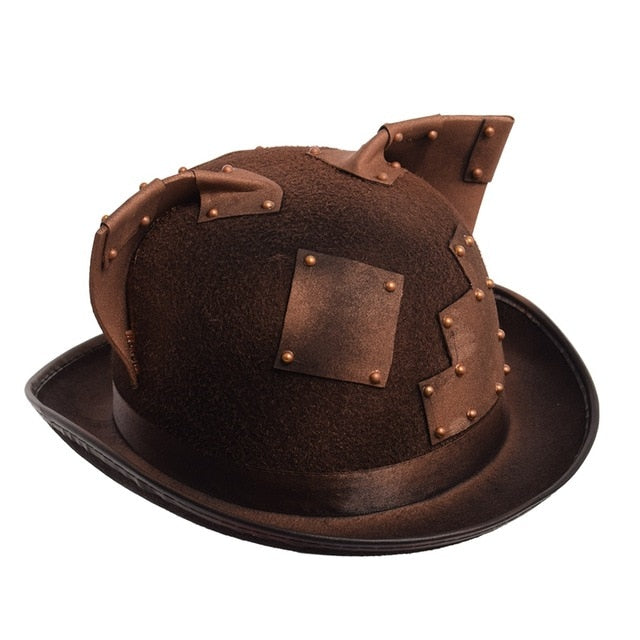 Handmade Retro Steampunk Women Gothic Hat with Cat Ears-Hats-Without Goggles-China-Burner Shop