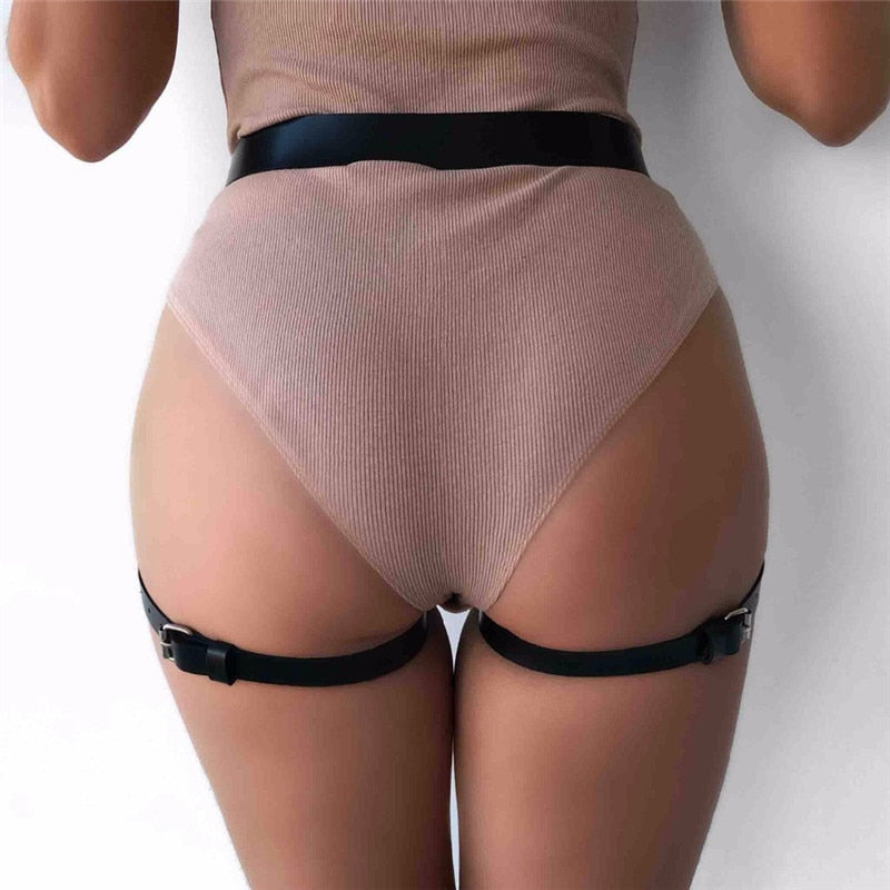 Leather Garter Belts for Women with 2 Suspenders Straps-Garters-Burner Shop