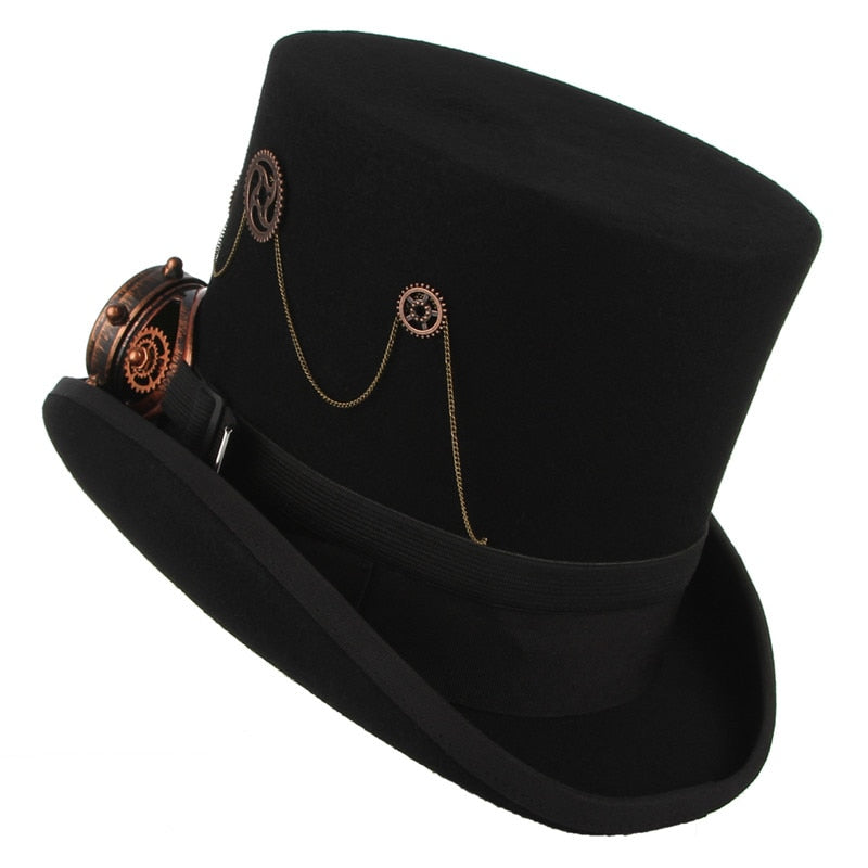 Unisex Felt Steampunk Top Hat With Gears and Chains-Hats-Burner Shop