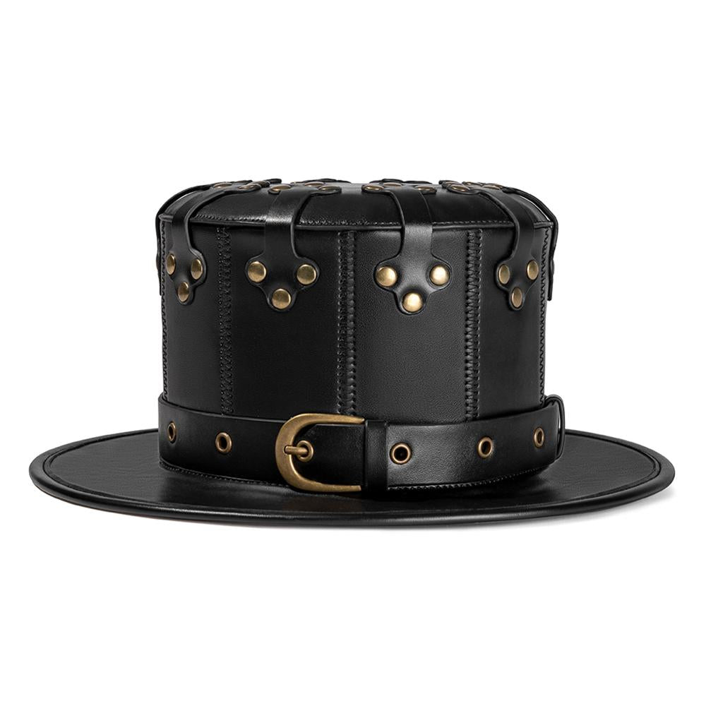 Black Leather Hat-Hats-Burner Shop