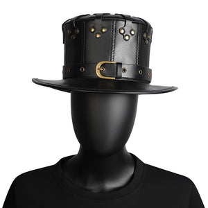 Steampunk Unisex Black Leather Top Hat-Hats-Burner Shop