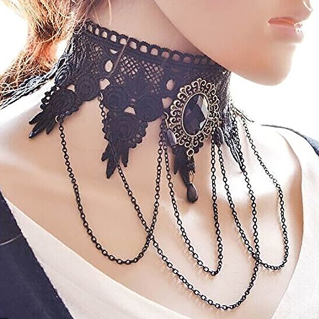 Sexy Black Lace Gothic Chokers-Necklaces-Burner Shop