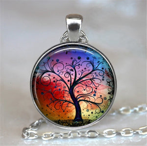 Tree Of Life Glass Cabochon Statement Necklace-Necklaces-2-Burner Shop