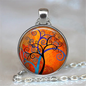 Tree Of Life Glass Cabochon Statement Necklace-Necklaces-3-Burner Shop
