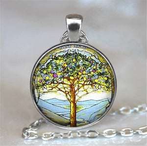 Tree Of Life Glass Cabochon Statement Necklace-Necklaces-4-Burner Shop