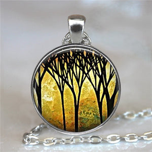 Tree Of Life Glass Cabochon Statement Necklace-Necklaces-5-Burner Shop
