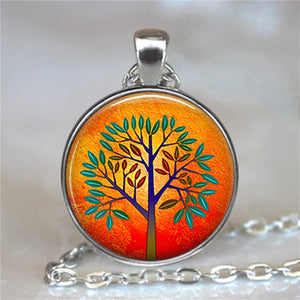 Tree Of Life Glass Cabochon Statement Necklace-Necklaces-7-Burner Shop