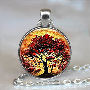 Tree Of Life Glass Cabochon Statement Necklace-Necklaces-8-Burner Shop