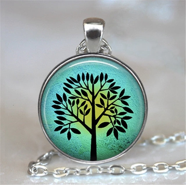Tree Of Life Glass Cabochon Statement Necklace-Necklaces-9-Burner Shop