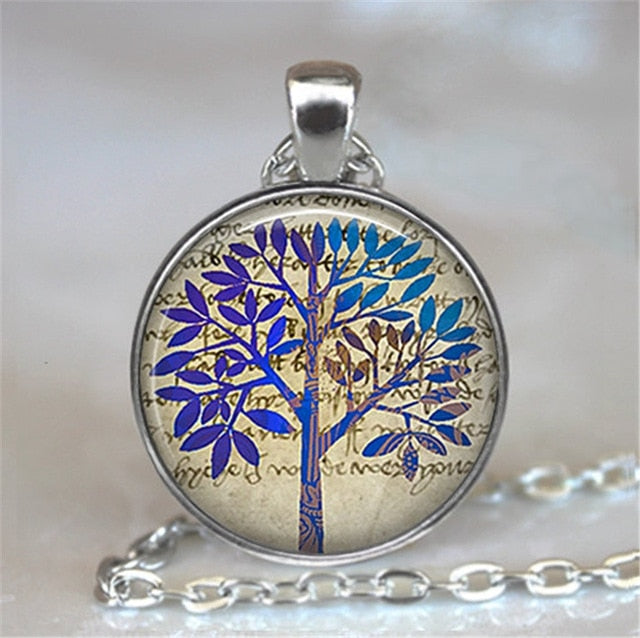 Tree Of Life Glass Cabochon Statement Necklace-Necklaces-10-Burner Shop