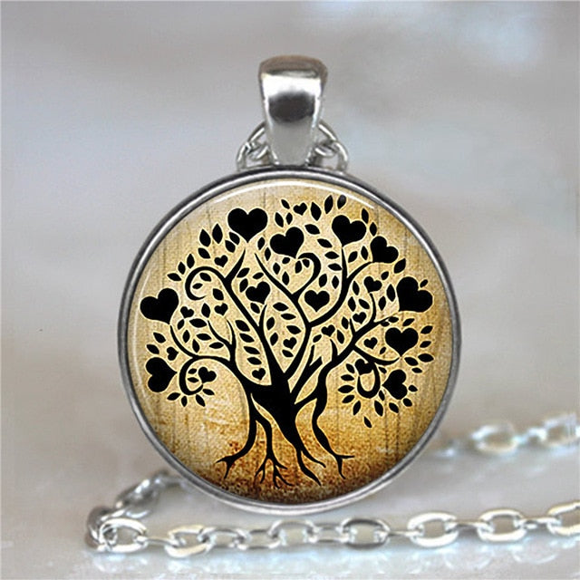 Tree Of Life Glass Cabochon Statement Necklace-Necklaces-11-Burner Shop