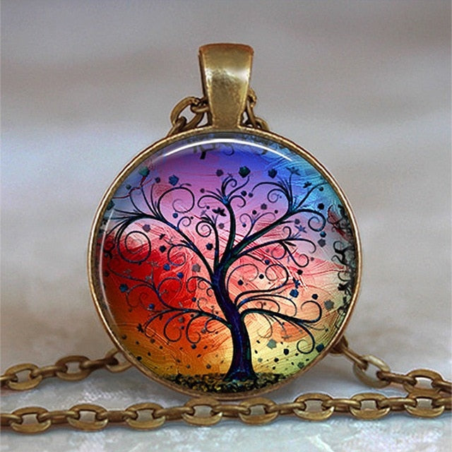 Tree Of Life Glass Cabochon Statement Necklace-Necklaces-14-Burner Shop