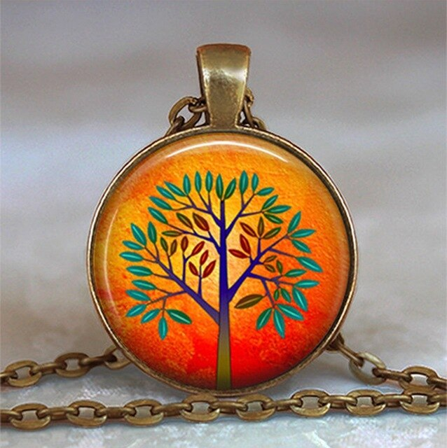Tree Of Life Glass Cabochon Statement Necklace-Necklaces-19-Burner Shop
