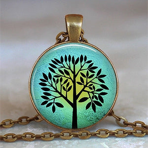 Tree Of Life Glass Cabochon Statement Necklace-Necklaces-21-Burner Shop