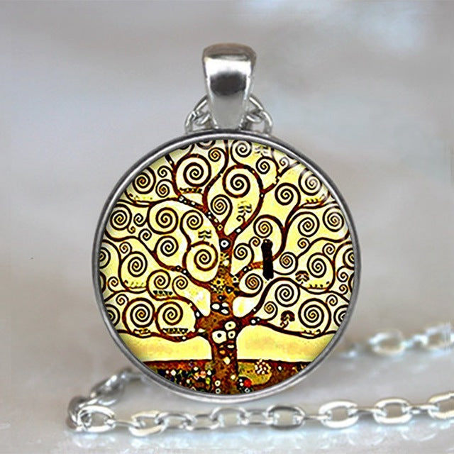 Tree Of Life Glass Cabochon Statement Necklace-Necklaces-25-Burner Shop