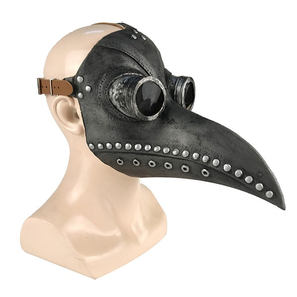 Medieval Steampunk Plague Bird-Face Masks-Black with Silver-Burner Shop