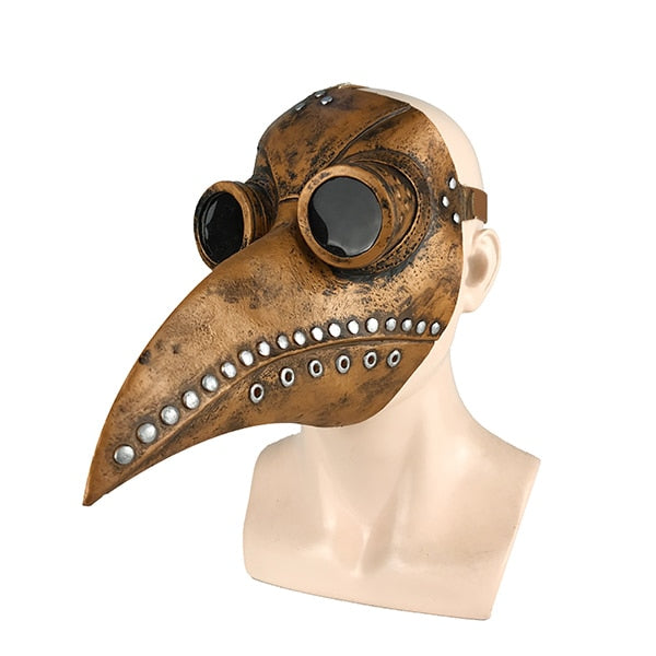 Medieval Steampunk Plague Bird-Face Masks-Brown with Silver-Burner Shop