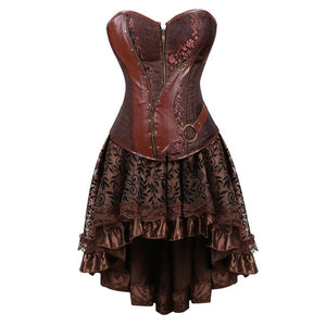 Gothic Steampunk Corsets-Corset-5829brown-5XL-Burner Shop