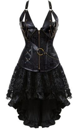 Gothic Steampunk Corsets-Corset-8105black-S-Burner Shop