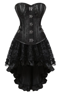 Gothic Steampunk Corsets-Corset-8110black-S-Burner Shop