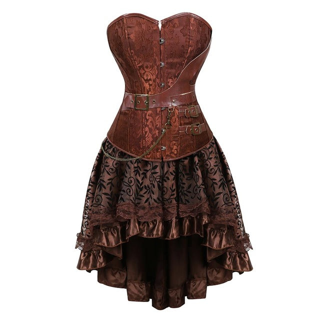 Gothic Steampunk Corsets-Corset-8103brown-XL-Burner Shop