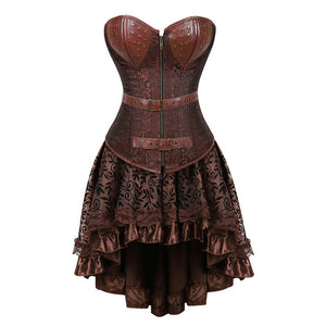 Gothic Steampunk Corsets-Corset-8107brown-5XL-Burner Shop