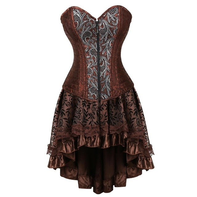 Gothic Steampunk Corsets-Corset-2072brown-4XL-Burner Shop