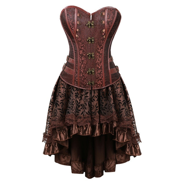 Gothic Steampunk Corsets-Corset-8106brown-6XL-Burner Shop