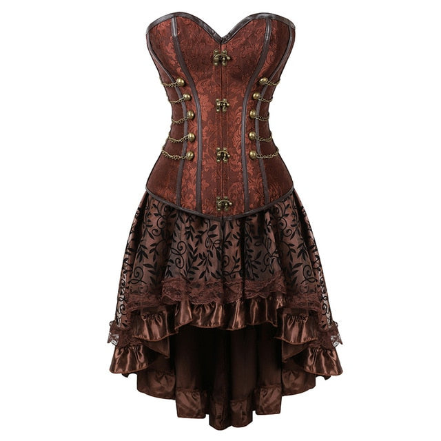 Gothic Steampunk Corsets-Corset-2837brown-S-Burner Shop