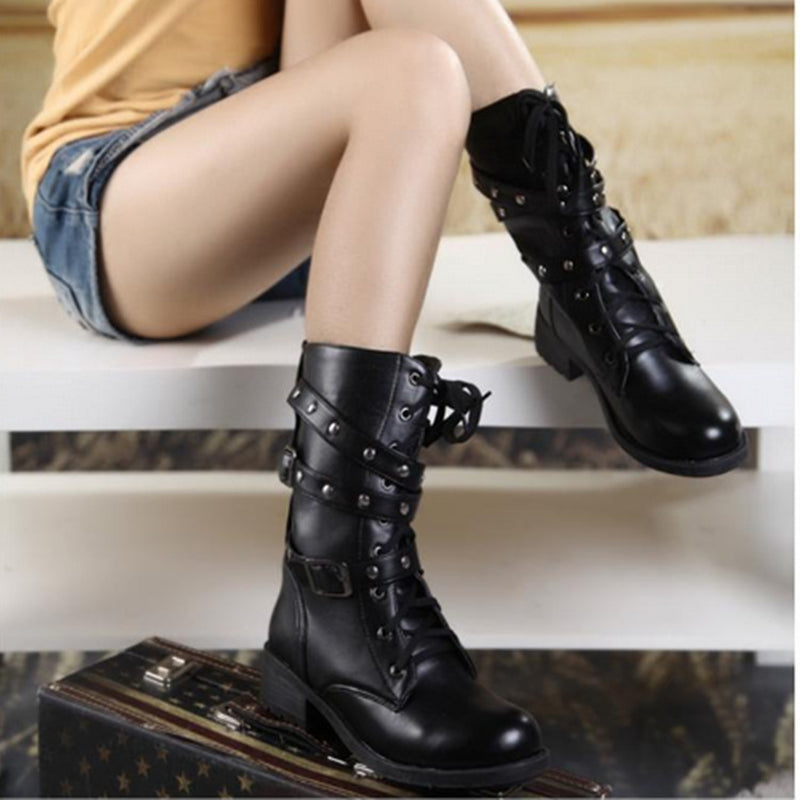 Vintage style Leather Boots-Boots-Burner Shop