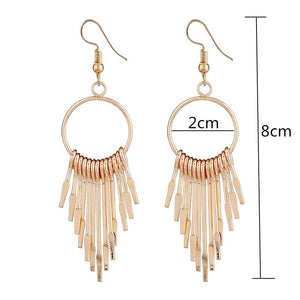 Boho Swing Shiny Long Tassels Drop Earrings for Women-Earrings-Burner Shop
