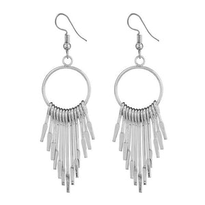Boho Swing Shiny Long Tassels Drop Earrings for Women-Earrings-EK2076 Silver-Burner Shop