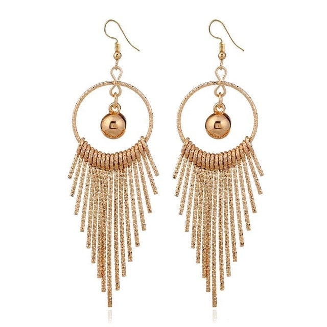 Boho Swing Shiny Long Tassels Drop Earrings for Women-Earrings-EK2044 Gold-Burner Shop