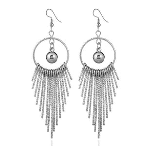 Boho Swing Shiny Long Tassels Drop Earrings for Women-Earrings-EK2044 Silver-Burner Shop