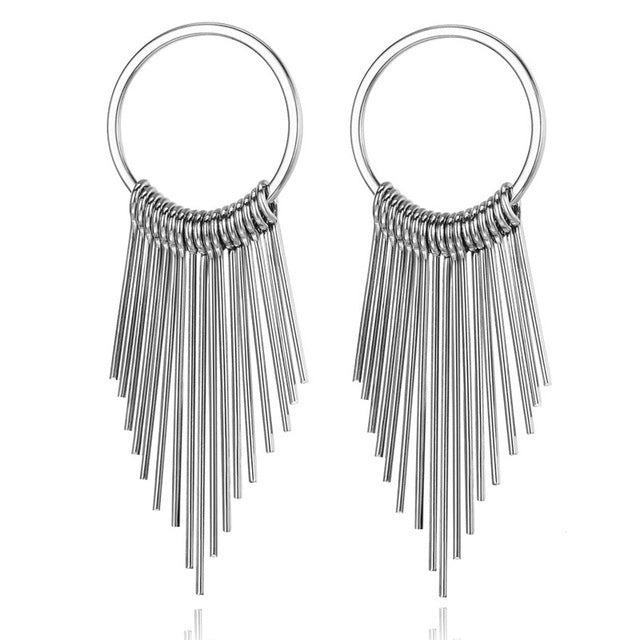 Boho Swing Shiny Long Tassels Drop Earrings for Women-Earrings-EK147 Silver-Burner Shop