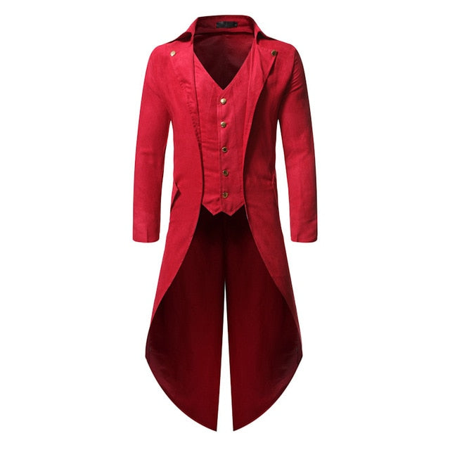 Dark Medieval Vintage Steampunk Tailcoat Costume-Coats-red-XXL-Burner Shop