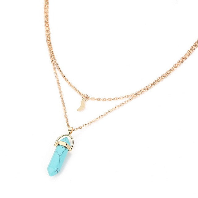 Vintage Gold Necklace with Natural Stone Pendant-Necklaces-Blue-Burner Shop