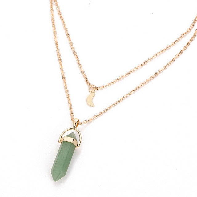 Vintage Gold Necklace with Natural Stone Pendant-Necklaces-Green-Burner Shop