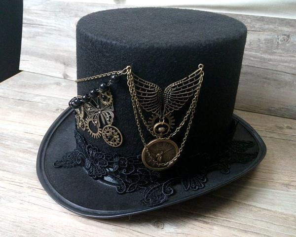 Handmade Steampunk Retro Vintage Top Hat with Wings, Gears and Chain-Hats-Burner Shop