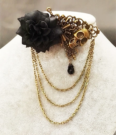 Rose & Skull Hair Clip and Chain-Hairpiece-Black-Burner Shop